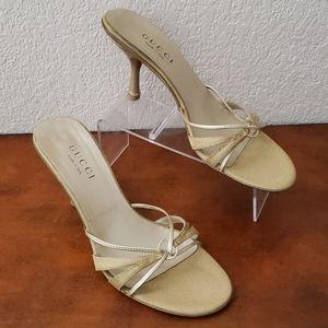 Gucci gold heels 8.5